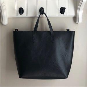 Madewell Black Leather Ziptop Transport Carryall